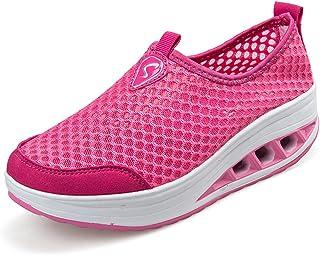 Zapatillas de Running de Competición Mujer Resbalón en Mocasines Huecos Florales de la Plataforma de la Cuña
