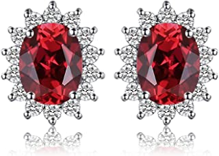 Gemstones Stone Birthstone Stud Earrings For Women 925 Sterling Silver Earrings For Girls Princess Diana William Kate Halo Earrings