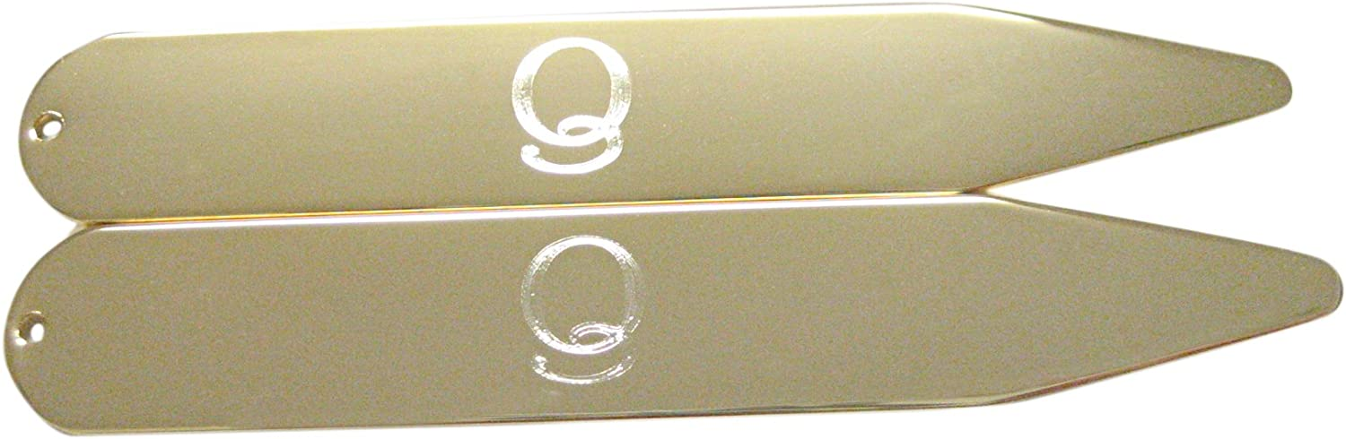 Gold Toned Etched Letter Q Monogram Collar Stays