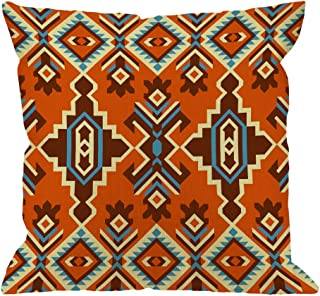 HGOD DESIGNS Kilim Pillow Covers,Decorative Throw Pillow Tribal Kilim Ethnic Geometric Ornament Pattern Pillow Cases Cotton Linen Outdoor Square Cushion Covers for Home Sofa Couch 18x18 inch Orange