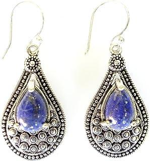 c2592f01c Blue lapis-lazuli gemstone oxidized silver drop dangle earrings for women  unique designer fashion earrings