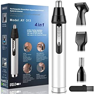 Ear Nose Hair Trimmer for Men,Professional USB Rechargeable Painless Mens Electric Nose Hair trimmer,4 in 1 Lightweight Wa...