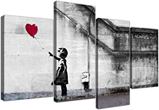 "Large Banksy Balloon Girl Canvas Wall Art - Red Heart Split Set 4 Pictures - 130cm / 51"" Wide - Prints - There Is Always Hope"