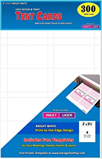 Pack of 300 Small Tent Cards, 2 x 3.5 inches, White, Laser & Inkjet