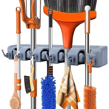 FAMKIT 10PCS Broom Holder Wall Mounted Mop Metal Holder Organizer Kitchen Storage Hanger Racks