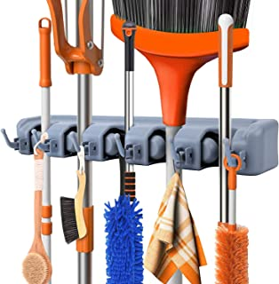 Feir Mop Broom Holder Wall Mounted Kitchen Hanging Garage Utility Tool Organizers and Storage Rack for Commercial Bathroom...