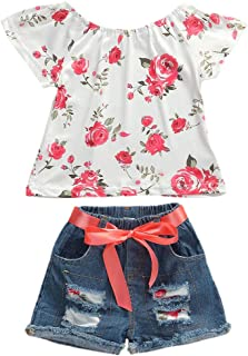 Fashion Toddler Kids Baby Girl Boy Summer Off Shoulder Ruffle Sleeveless Tassel T-Shirt Top+Floral Shorts Clothes Set 6M-7Y