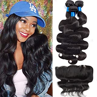 Cranberry Hair Brazilian Body Wave Virgin Hair 3 Bundles Wefts with 13X4 Ear to Ear Free Lace Frontal Closure 100% Human Hair Extensions Natural Color (22
