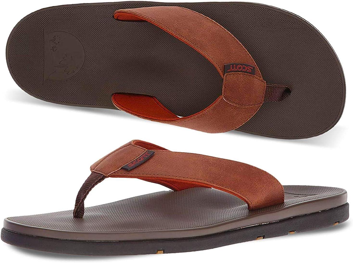 Scott Hawaii Men's Hikino Vegan Leather Sandals   Reef Walking Flip Flops for Men   Gray Brown Neoprene Comfort Waterproof Shoes   Guarantee All Day Arch Support Comfortable Slipper