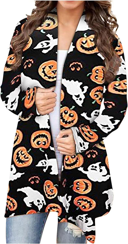 Womens Cardigans Lightweight Pumpkin Print Spider Web Light Long Cardigan Sweaters Plus Size Open Front Long Sleeve Shirts
