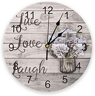 Infinidesign Vintage Hydrangea Silent Non Ticking Wall Clock, Battery Operated PVC Round Numerals Clocks, Decorative for H...