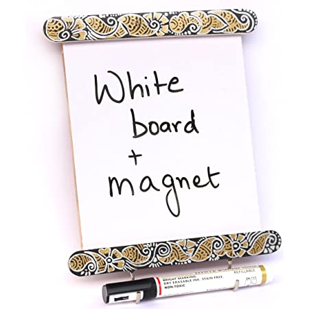 IVEI Wooden Utility Fridge Magnet with Hooks - Easy to Wipe White Board - Dry Erase Board - Hand Painted Mehndi Art Frame – Unique to-Do-List - Magnet for Fridge - Best Gift for Home, Kitchen, etc
