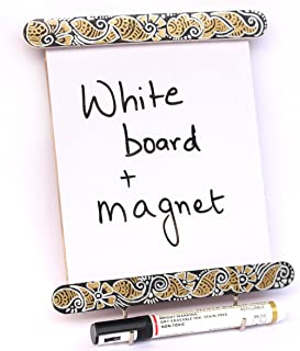IVEI Wooden Utility Fridge Magnet with Hooks - Easy to Wipe White Board - Dry Erase Board - Hand Painted Mehndi Art Frame ...