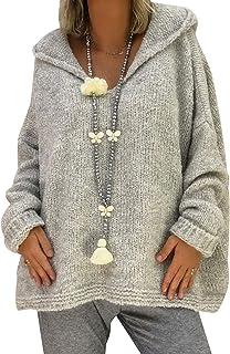 52246cb605e134 Maglione con Cappuccio Donna Maglioni Oversize Pullover Maglieria Golfino Donna  Maglione Trecce Pesanti Ragazza Larghi Invernali