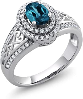 925 Sterling Silver London Blue Topaz Women's Ring 1.36 Cttw Oval Gemstone Birthstone Available 5,6,7,8,