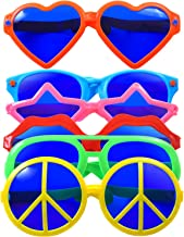 Cooraby 6 Pieces Plastic Jumbo Fun Sunglasses Colorful Fun Glasses Star Heart Shaped Party Eyeglasses for Hawaiian Beach Photo Props Costume Fancy Dress Party Supplies