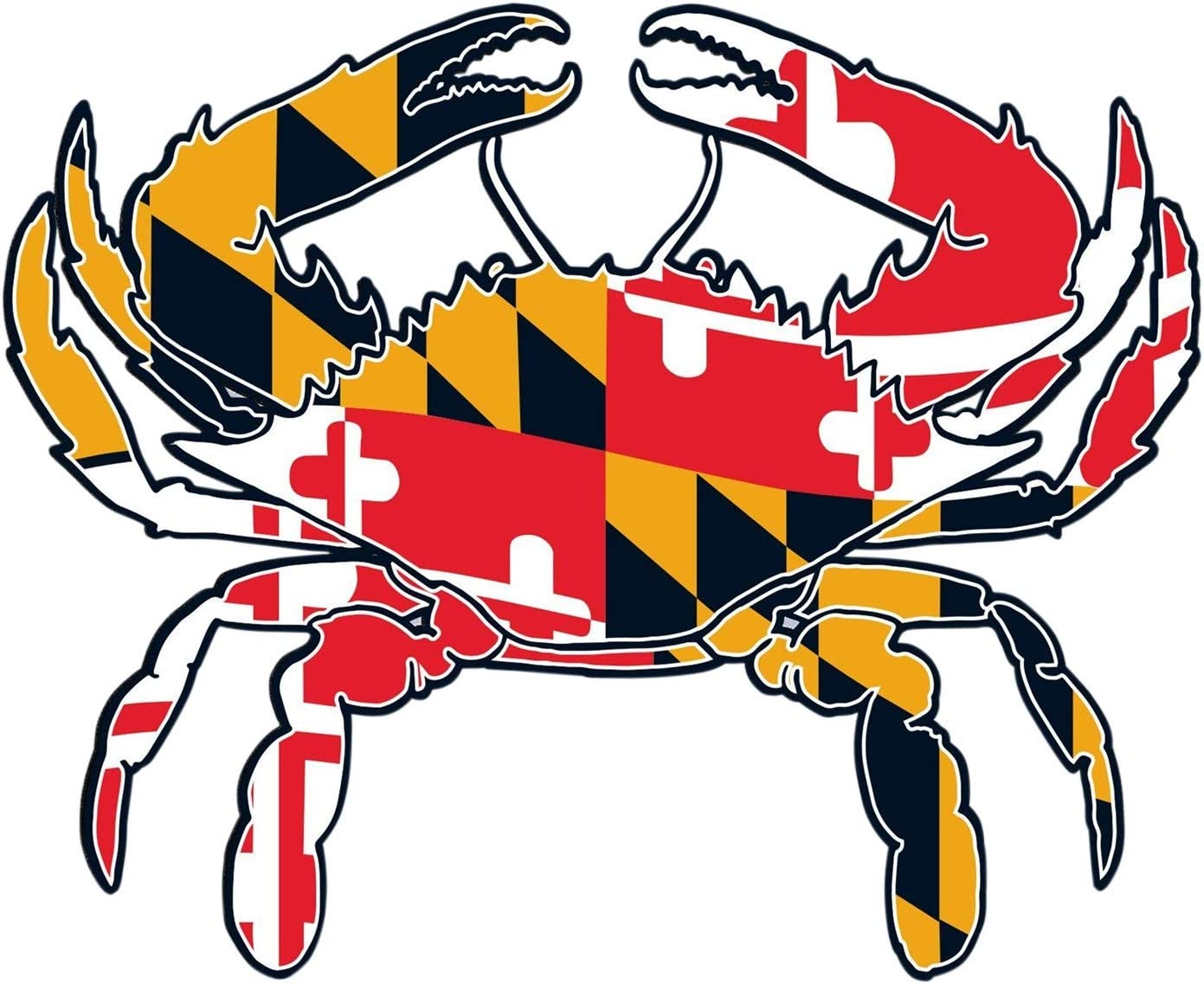 Maryland State Flag Super sale Crab Large-scale sale Cut-Out Adhesive Sticke Souvenir Bumper
