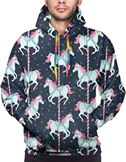 GULTMEE Men's Hoodies Sweatershirt,Carousel Horses Playthings Merry Go Round Joyful Circus Amusement Park,