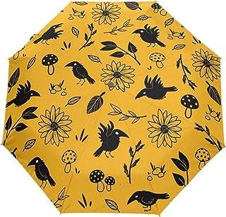Travel Umbrella Bird Crow Raven Auto Open Compact Folding Sun & Rain Protection Umbrella with UV Protection Windproof
