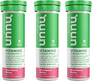 Nuun Vitamins: Strawberry Melon Daily Hydration Supplement (3 Tubes of 12 Tabs)