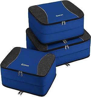 Gonex Organiseurs de Bagage Sacs Rangement de Valise Voyage (D-Bleu, Double Compartiments x3)