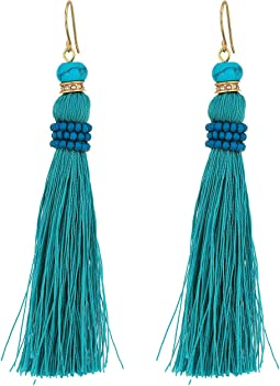 Turquoise and Pave Threaded Tassel Earrings