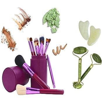 juego 12 brochas de maquillaje con estuche morado sombra pinceles delineador de ojos, brush colorete, corrector de polvo de REGALO rodillo facial de piedra de jade cuarzo: Amazon.es: Belleza