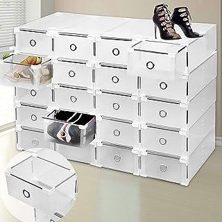 Homgrace Rangement de Chaussure, Lot de 24 boites a tiroir Transparente Pliable et Penderie Etagère à Chaussures Modulable...