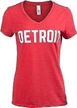 Detroit | Classic Retro City Grey Blue Red Black Detroiter 313 Cool Michigan Women V-Neck T-Shirt Top