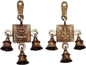 Aakrati 3 Bells Brass Hanging Hindu God Ganesha and Goddess Laxmi Ji Statue Engraved for Luck Home Temple Use - Ganesha La...