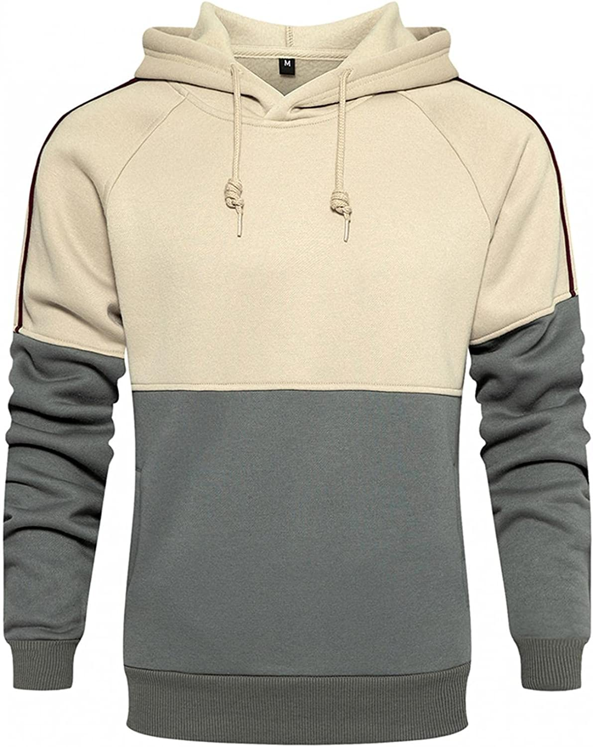 Qsctys Men's Solid Patchwork Pullover So Crewneck gift free Hoodies Sports