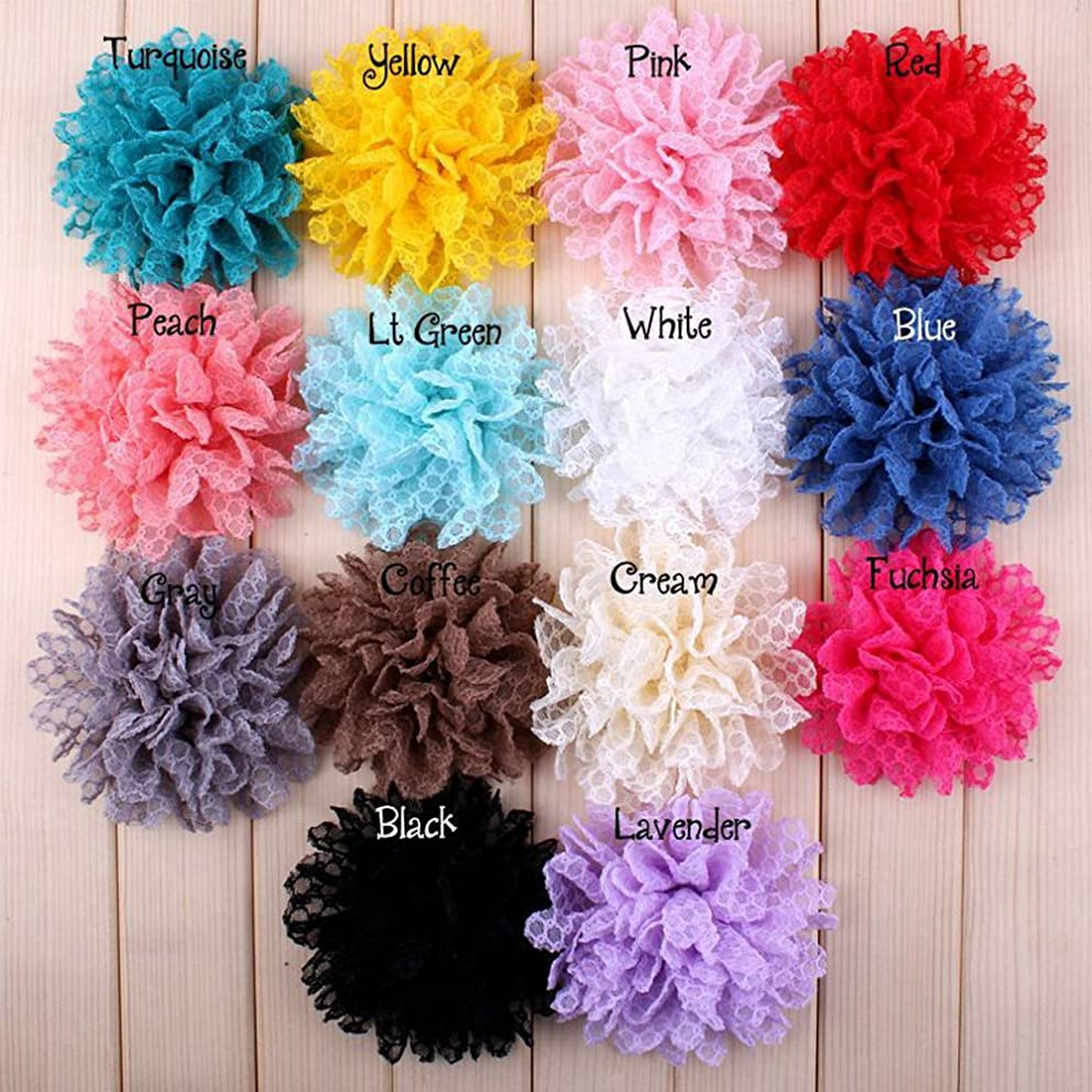 EMAXELER Mixed Random Colors Flat-bottomed Beautiful DIY Handmade Decorative Lace Wave Edge Cloth Rose Wedding Flowers for Hair Clips, Scrapbooking and More Decoration 20Pcs Lace Flowers