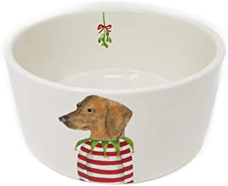 Rae Dunn Magenta Dachshund in Christmas Sweater Ceramic LL Pet Food Water Bowl