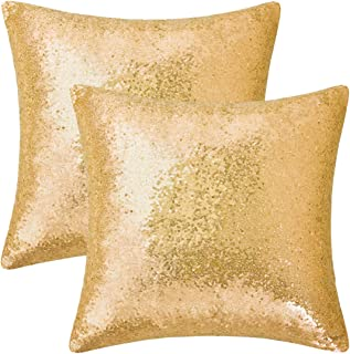 BLEUM CADE Set of 2 Gold Pillow Covers Sparkling Sequins Pillow Covers Mermaid Sequin Throw Pillow Covers Cushion Covers Pillowcases for Party Christmas with Hidden Zipper(Gold,18 x 18 Inch)