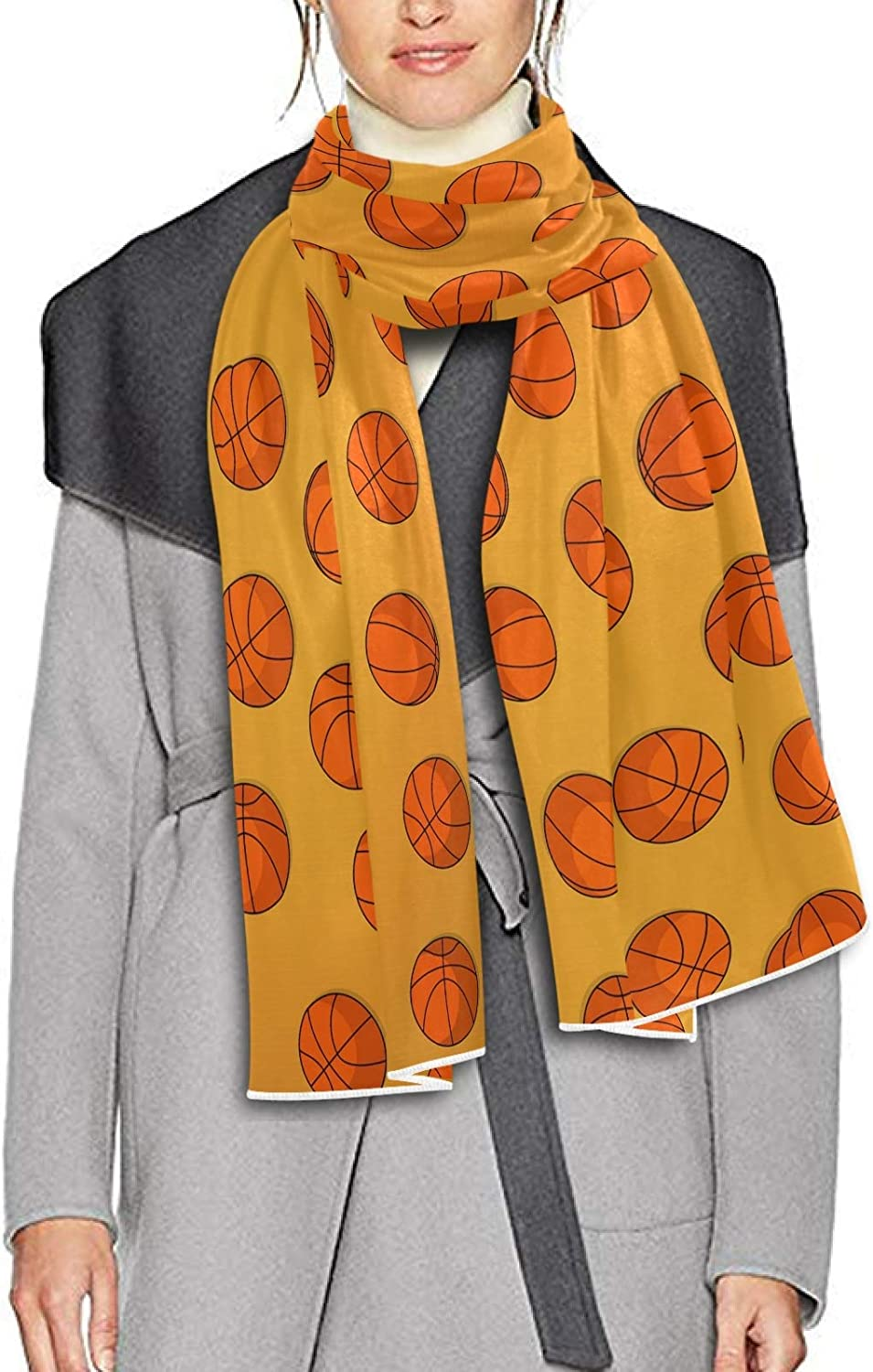 Scarf for Women and Men Basketballs Yellow Shawls Blanket Scarf wraps Soft warm Winter Oversized Scarves Lightweight