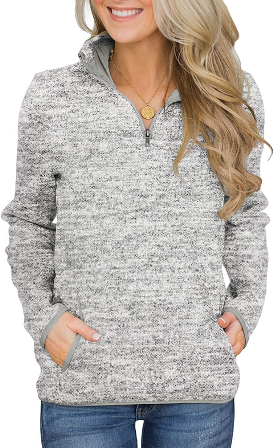 Welinone Womens Sweatshirts Quarter Zip Pullover Solid Casual Long Sleeve Tunic Tops with Pocket(S-XXL)
