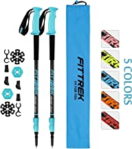 FitTrek Trekking Poles - Carbon Fibre Walking Poles - Hiking Poles Telescopic - Lightweight Nordic Walking Poles for Women, Men and Kids with Walking Poles Rubber Tips and Pole Bag, 1 Pair