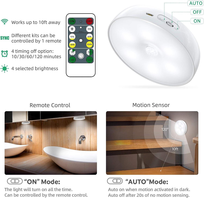 USB Rechargeable Lot de 3 Lampes de Nuit sans Fil avec Contr/ôle Tactile et T/él/écommande Luminosit/é R/églable Lampe de Armoire Aliment/é Racokky Lampe Placard Veilleuse LED