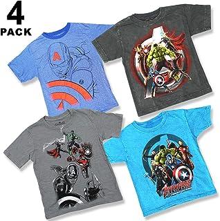 Marvel Comics Boys Youth Super Heroes 4 Pack T-Shirt Bundle Avengers Captain America Iron Man Thor Hulk