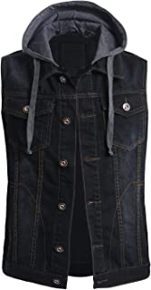 OLLIN1 Mens Casual Denim Vest Jacket with Hoodie