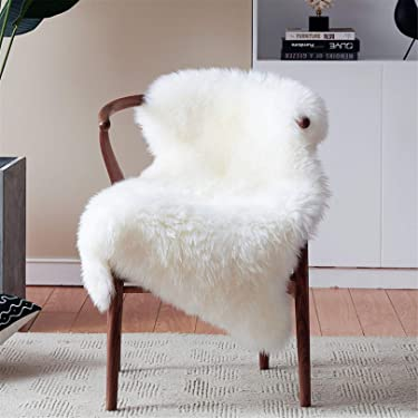 Duduta White Soft Cozy Sheepskin Bedside Rugs 2x3 Feet, Fluffy Faux Fur Chair Couch Seat Cover Machine Washable