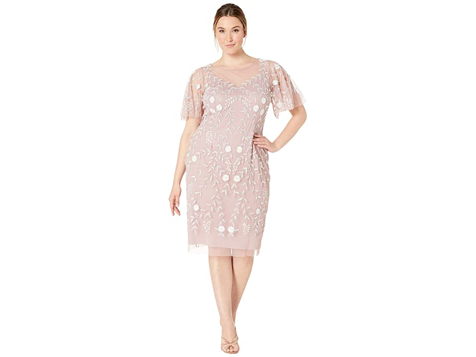 Adrianna Papell Plus Size Beaded Cocktail Sheath Dress with Flutter Sleeves (Dusted Petal/Ivory) Women