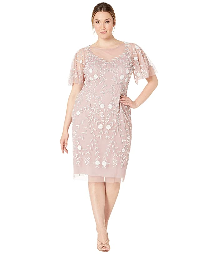 1920s Plus Size Flapper Dresses, Gatsby Dresses, Flapper Costumes Adrianna Papell Plus Size Beaded Cocktail Sheath Dress with Flutter Sleeves Dusted PetalIvory Womens Dress $206.46 AT vintagedancer.com