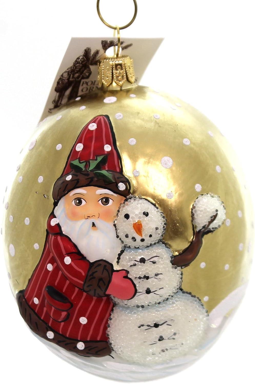 Vaillancourt Santa with Snowman, 3.5