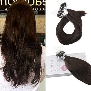 Moresoo 20 Inch Human Hair Extensions Darkest Brown #2 Micro Loop Hair Extensions 50g Per Pack Micro Ring Bead Hair Extensions Remy Hair Extensions 50 Gram