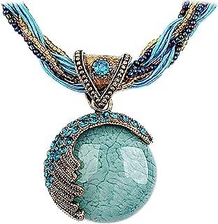 Harlorki Women Lady Retro Vintage Bohemian Style Turquoise Rhinestone Pendant Collar Chain Necklace Fashion Jewelry