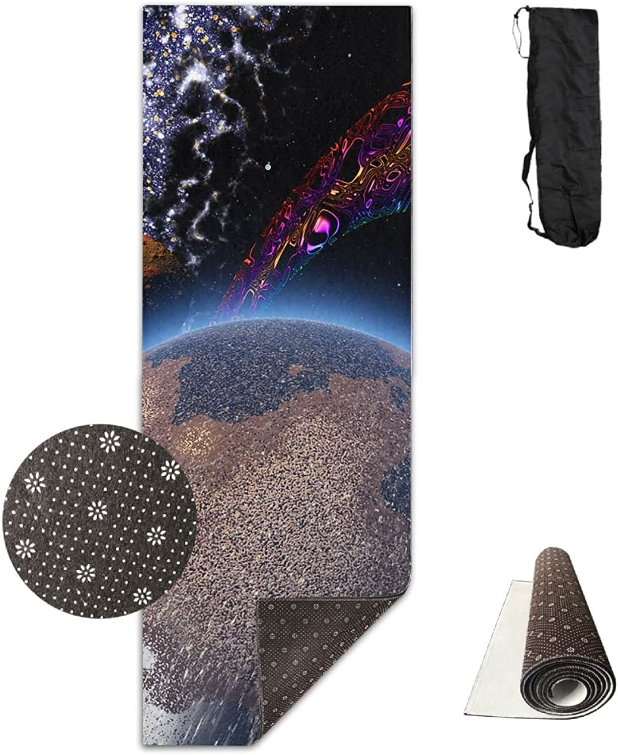 Yoga Mat Non Slip 24  X 71  Exercise Mats Space Planet Premium Fitness Pilates Carrying Strap