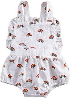 طفلة قوس قزح مطبوعة قطعة واحدة حللا الرضع أكمام منزعج الرقبة حمالة مثلث ارتداءها رومبير (Color : White, Kid Size : 6M)