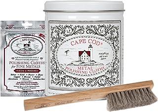 Cape Cod Metal Polishing Bundle - 2 Fine Metal Polishing Cloths, 12 Moist Cotton Cloths, Buffing Cloth, Reusable Gloves an...