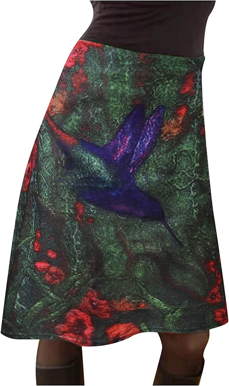 DILYluer Women's Vintage Print Skirt High Waist Skirt Fashion Hip Skirt Casual Knee Long Skirt Floral Print Skirt